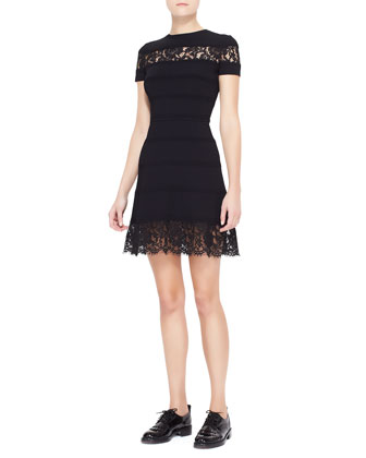 Lace-Insert Striped Dress, Black