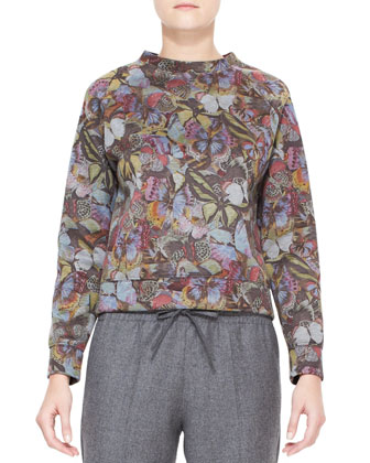 Butterfly Printed Sweatshirt, Gray/Multi