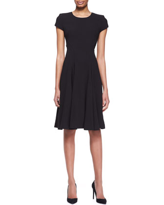 Short-Sleeve Crepe A-Line Dress, Noir Black