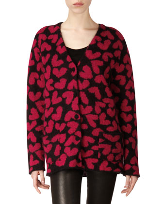 Long-Sleeve Heart Mohair-Blend Cardigan