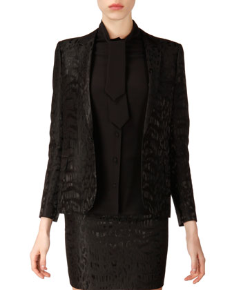 Long-Sleeve One-Button Animal Jacquard Blazer