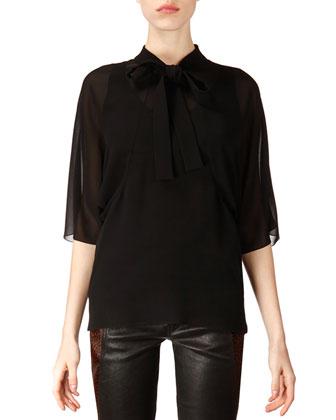 Mid-Sleeve Silk Tie Blouse