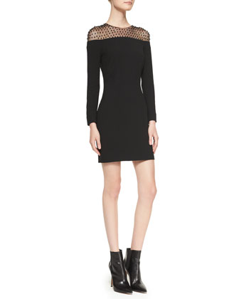 Long-Sleeve Embellished-Yoke Minidress