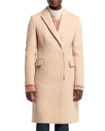 Florence Fitted Asymmetric Coat, Camel