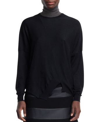 Asymmetric Seamed Turtleneck