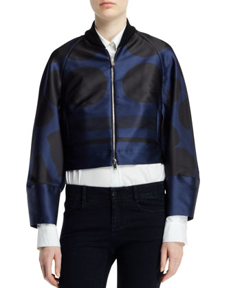 Folded Dot Jacquard Zip Jacket, Blue