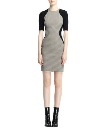 Contour Colorblock Houndstooth Dress, Black/White