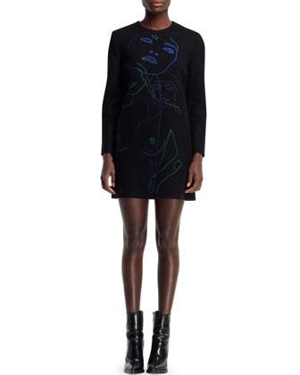 Embroidered Wool-Blend Shift Dress, Black/Multi