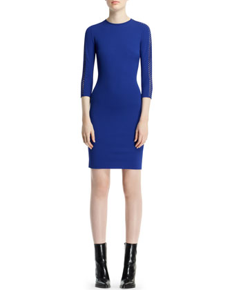 Dot-Basketweave-Sleeve Sheath Dress, Blue Bird