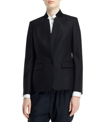 Fleur Stand-Collar One-Button Jacket, Navy