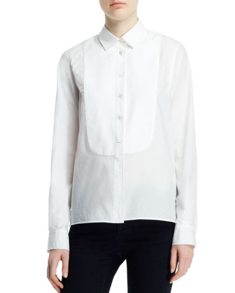 Long-Sleeve Button-Front Tuxedo Blouse, White