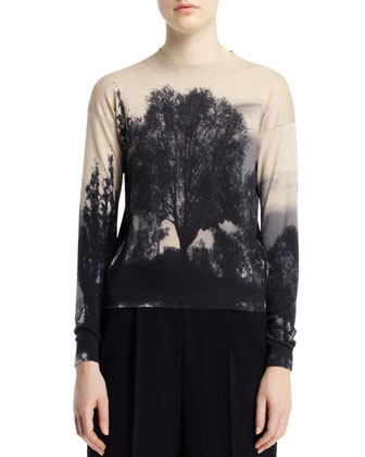 Landscape-Print Sweater, Black/White