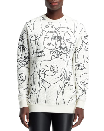Quilted Women Scribbled Sweatshirt, Chalk