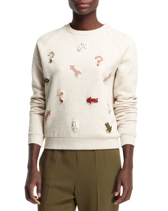 Embroidered Novelty Applique Sweatshirt, Natural