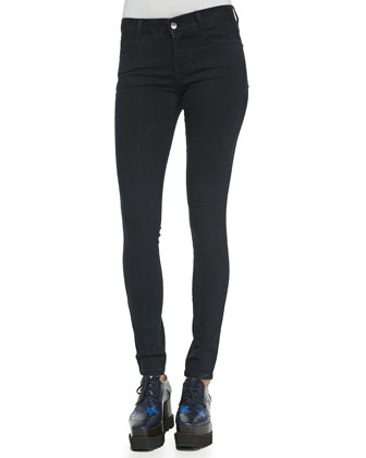 Long Skinny Black Denim Jeans, Blue-Black