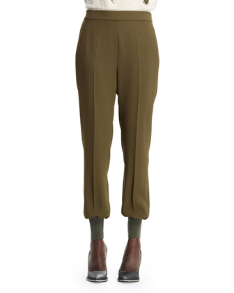 Julia Stretch Cady Cuff-Ankle Harem Pants, Loden
