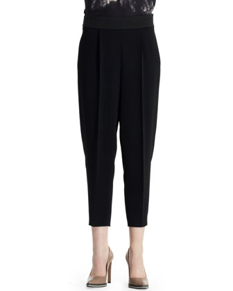 Charlotte Clean Front Stretch Cady Ankle Pants, Black