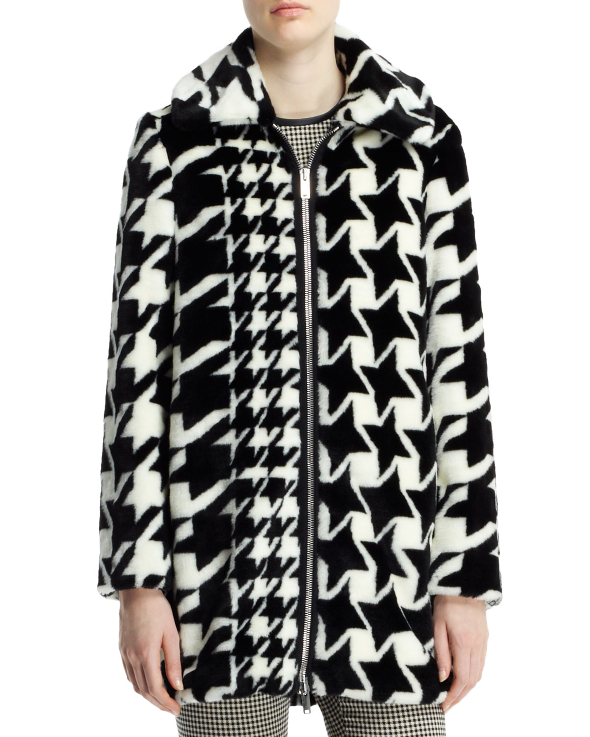 Houndstooth-Print Faux-Fur Coat, Black/White