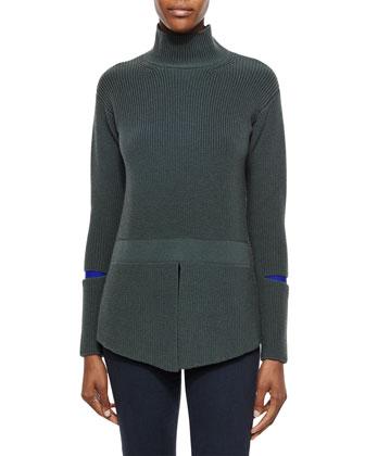 Turtleneck Sweater with Slit Sleeves, Slate Blue