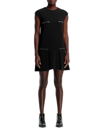 Gisella 4-Zip Stretch Cady Dress, Black