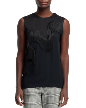Fringe-Wave Sleeveless Tee, Black
