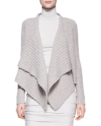 Long-Sleeve Cashmere-Silk Drape Jacket