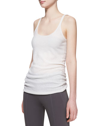 Ribbed Cashmere-Blend Tank Top, Ivory