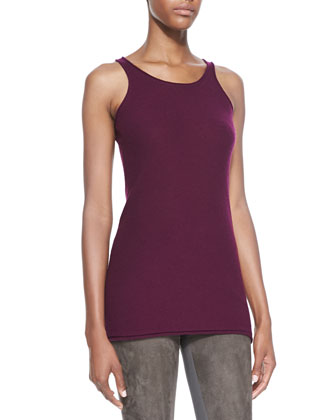 Lightweight Stretch Knit Tank, Berry