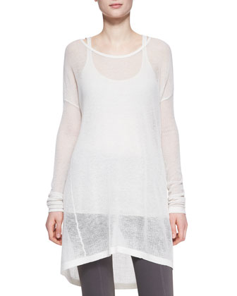Easy Long-Sleeve Cashmere Tee, Ivory