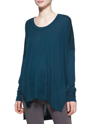 Long-Sleeve Cashmere Poncho Top