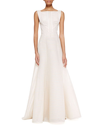 Sleeveless High-Neck Gown, Jasmine White