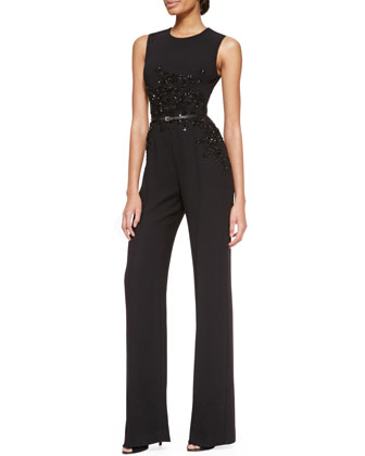 Sleeveless Embellished Jumpsuit, Black