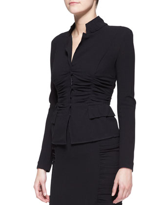 Long-Sleeve Crushed Cardigan Jacket, Black