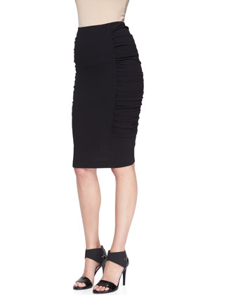 Pull-On Crushed Pencil Skirt
