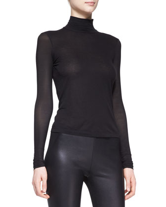 Sheer-Sleeve Turtleneck Top, Black