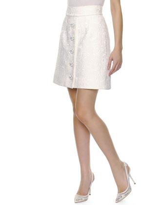 Embossed Flower-Button Skirt