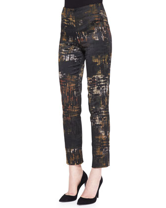 Slim Abstract Printed Pants, Black/Multi