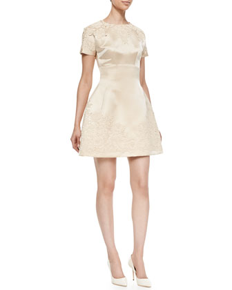 Short-Sleeve Embellished Satin Dress