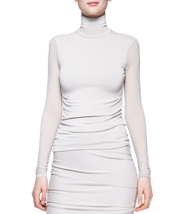 Sheer-Sleeve Turtleneck Top, Dust