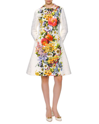 Engineered Floral-Print Long Coat, White/Multi