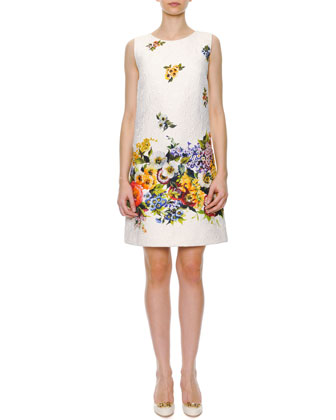 Engineered Floral-Print A-Line Shift Dress, White/Multi