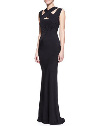 Cross-Neck Jersey Gown