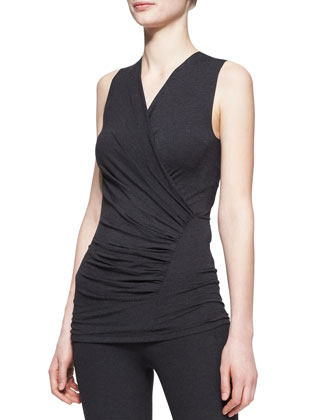 Sleeveless Ruched Drape Top
