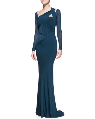 Floor-Length Draped Gown, Teal