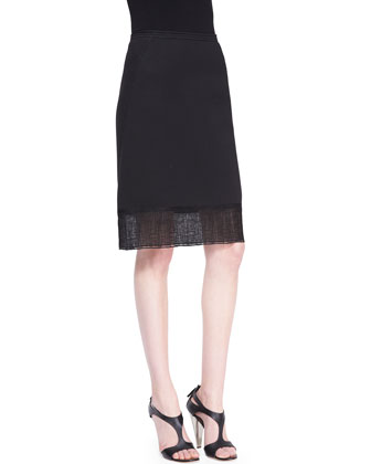 Sculpted Bonded Jersey Skirt with Lace Hem