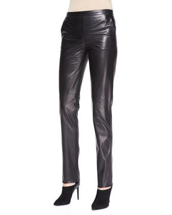 Skinny Leather Pants, Black