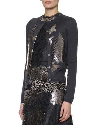 Metallic-Laminated Lace Cardigan, Black/Gray