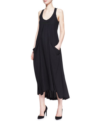 Sleeveless Dress with Draped Pockets