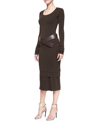 Long-Sleeve Layered-Hem Dress, Bark