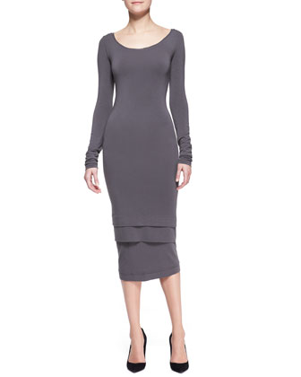 Long-Sleeve Layered-Hem Dress, Slate